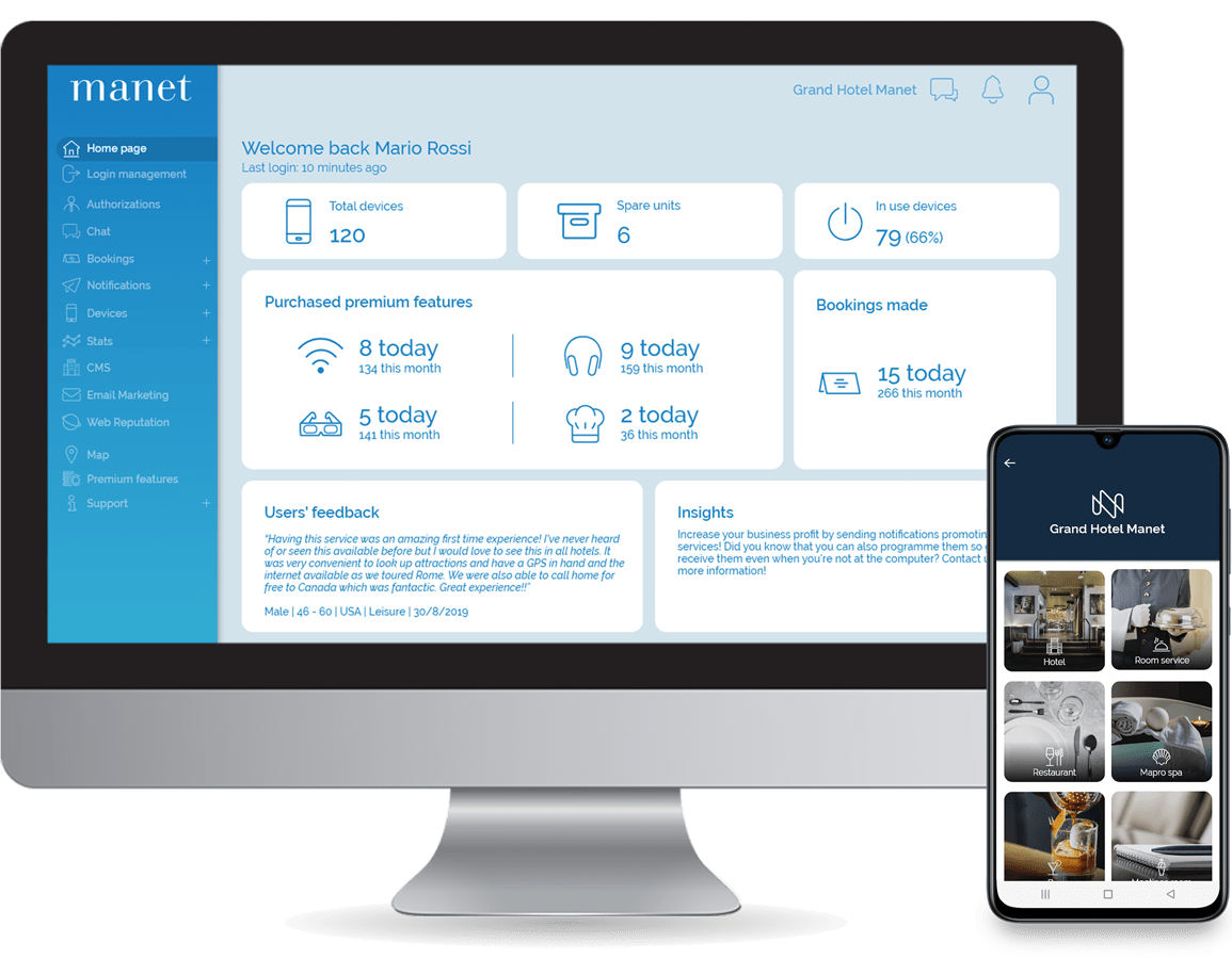 Manet dashboard for hospitality