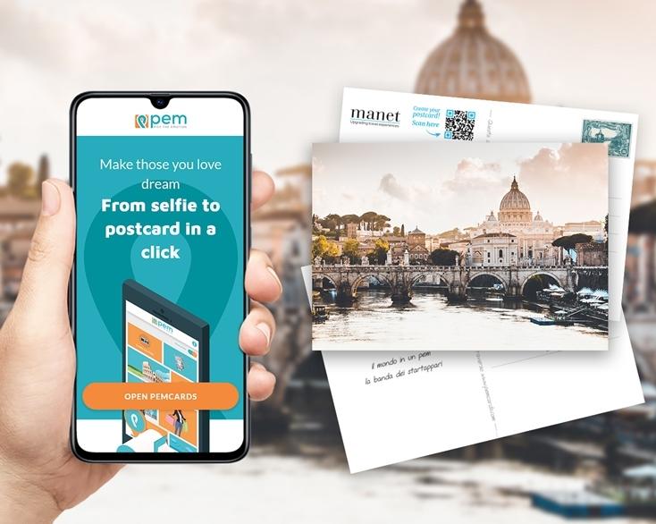 Manet è partner di PEM per la creazione e l'invio di cartoline cartacee dai dispositivi Manet