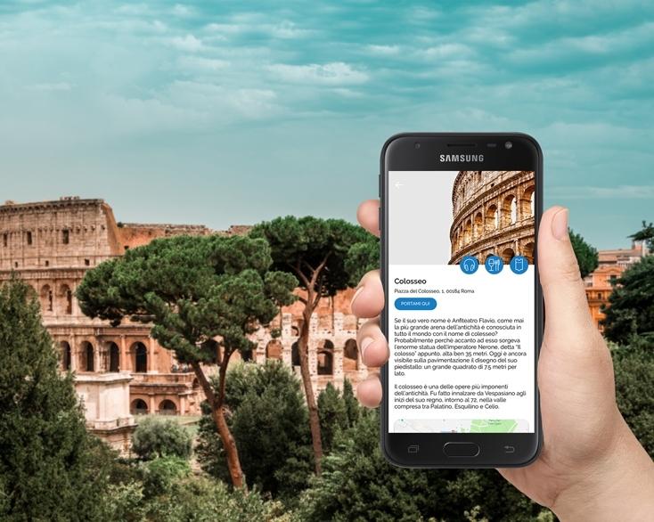 Guida turistica del Colosseo su dispositivo Manet