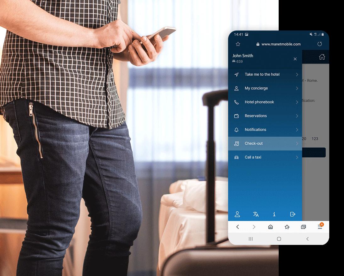 Check-out e pagamento con l'app Manet