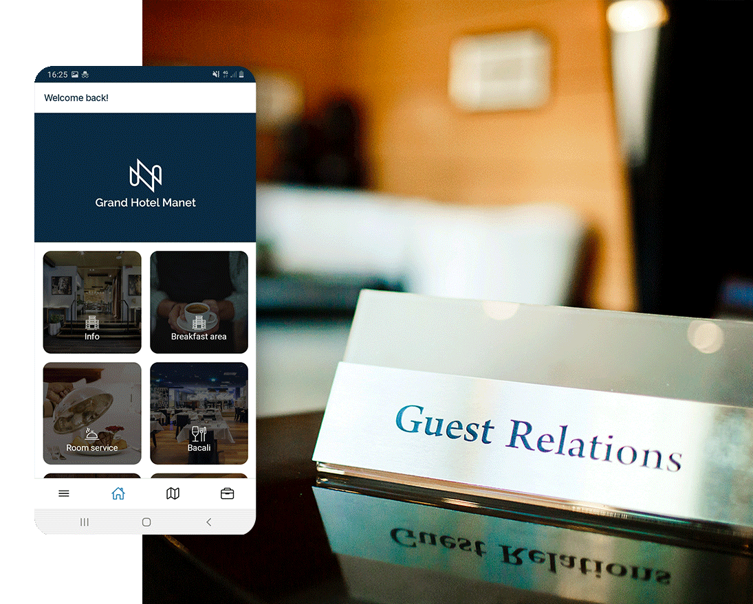 Manet app real-time connection with hotel