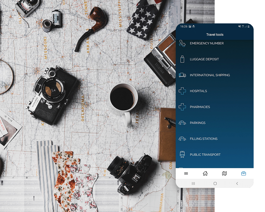 Strumenti di viaggio nell'app Manet