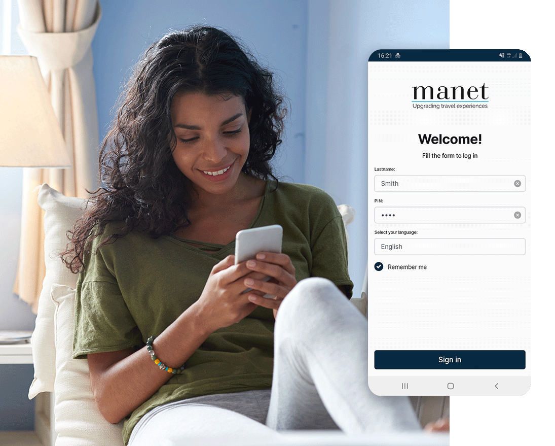 Check-in and identification operations on Manet app