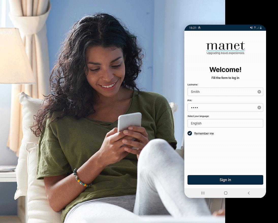Check-in e riconoscimento con l'app Manet