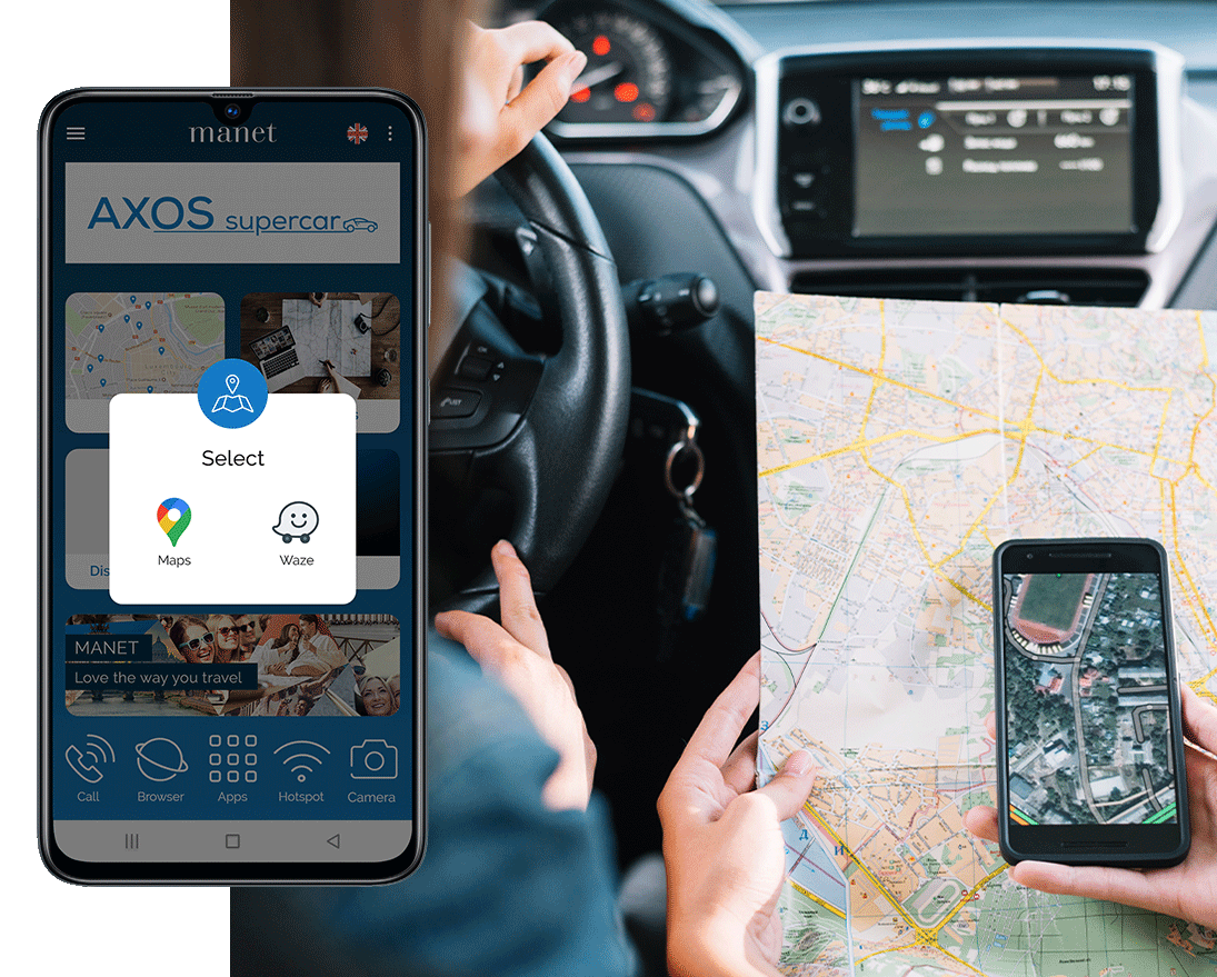 Google Maps and Waze available on the Manet Device for car rental