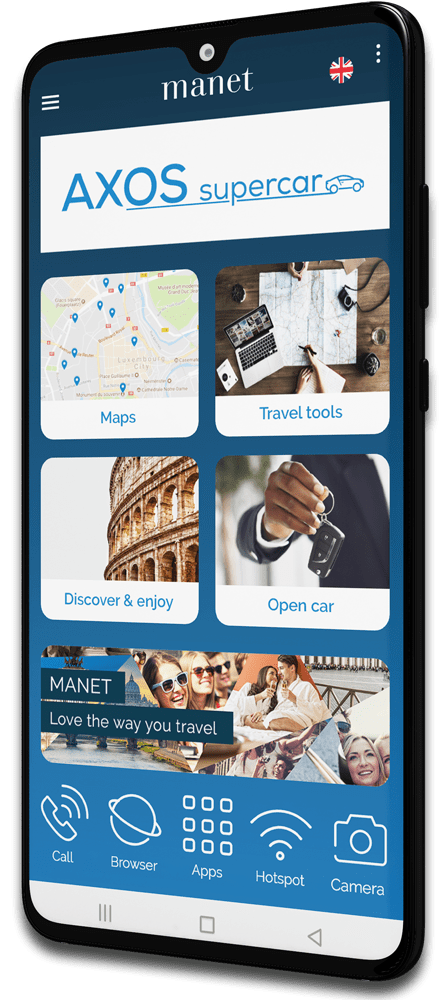 Manet Device homepage for car rental