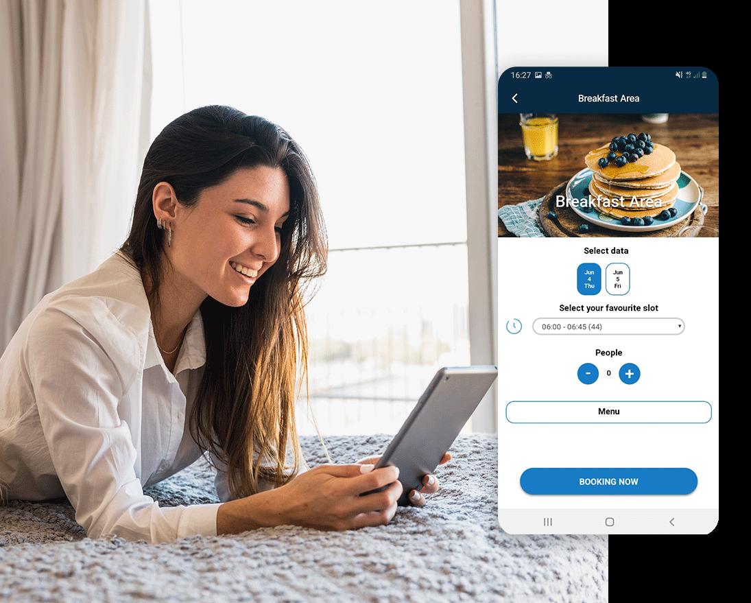 Un ospite prenota la colazione con l'app Manet